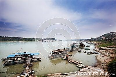 The ancient Yangtze River pier Editorial Stock Image