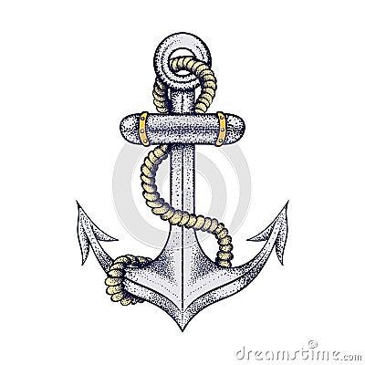 Ancre flottante l gante tir e par la main de bateau avec la corde croquis color pour - Ancre de bateau dessin ...