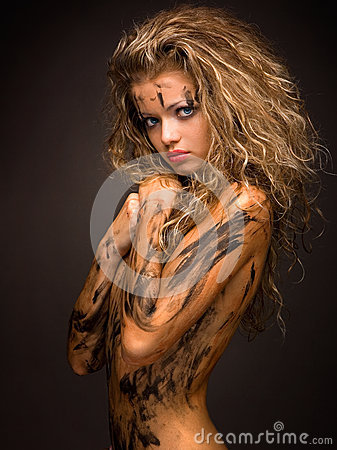 Free And Innocent Woman With Paint Smudge On Her Naked Body Royalty Free Stock Image - 30395466