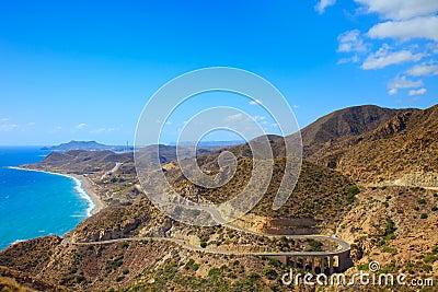 Andalusia landscape. Parque Cabo de Gata, Almeria.