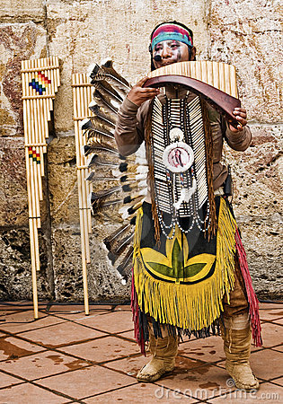 Andean Indian Musician Editorial Photo