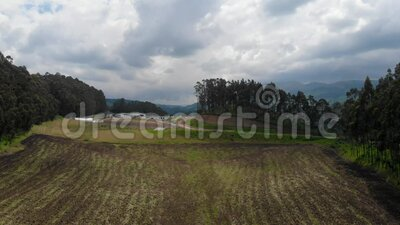 Andean landscape. Where rocks, cultivated fields, moors and contrasts of light stand out stock footage