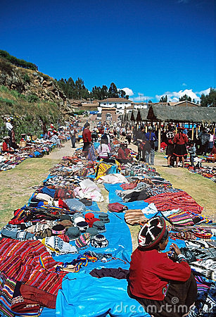 Andean textile market Editorial Stock Image