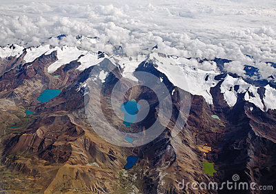 Andes Mountains and lakes in Bolivia