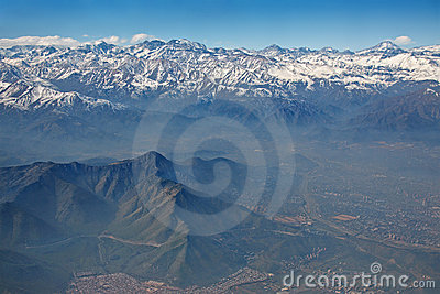 Andes and Santiago with smog, Chile