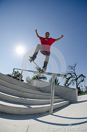 Andre Pereira on a FS Nose Grind Editorial Stock Photo
