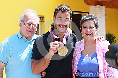 Daniele Molmenti gold Olympic medal comes back hom Editorial Stock Image