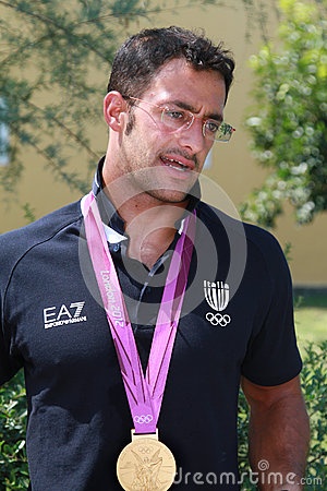 Daniele Molmenti gold Olympic medal comes back hom Editorial Photography