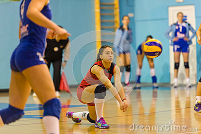 Andreea Ispas, a volleyball young libero playing in CSM Bucharest - CSM Lugoj match Editorial Stock Image