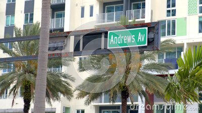 Andrew Avenue road Sign Downtown Fort Lauderdale shot on Blackmagic 6k camera stock video footage