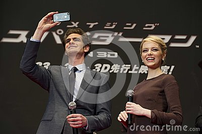 Andrew Garfield et Emma Stone Photo stock éditorial