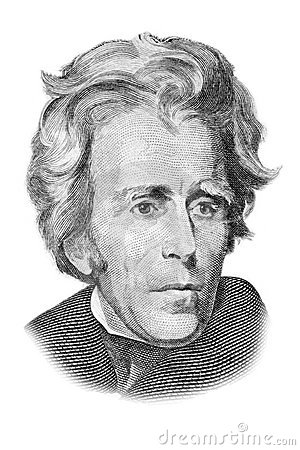 Andrew Jackson portrait on twenty dollars bill.
