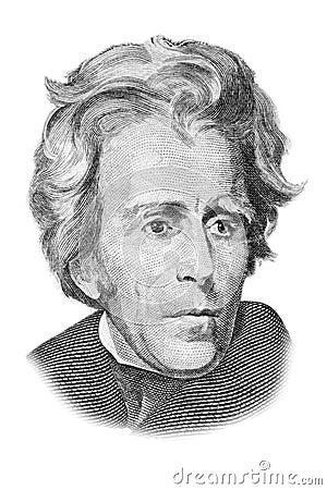 Andrew Jackson portrait on twenty dollars bill.