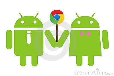 Andriod couple holding a lolipop Chrome Editorial Image