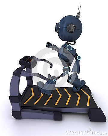 Andriod at the gym running on a treadmill