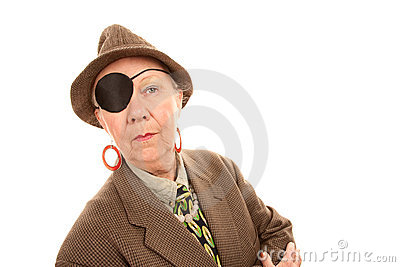 Androgynous senior woman with eye patch
