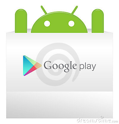 An android appear from Google play bag Editorial Photo