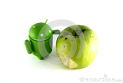 Android with apple Editorial Stock Photo