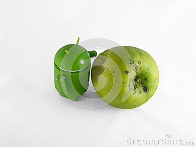 Android with apple Editorial Stock Image