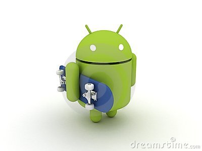 Android Character with Skateboard Editorial Stock Photo