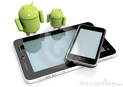 Android characters and devices Editorial Image
