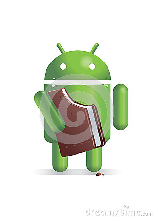 Android eating ice cream sandwich Editorial Image