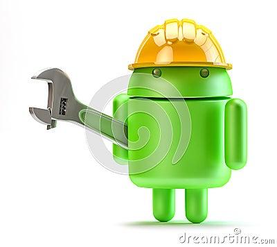 Android med den justerbara skiftnyckeln. Teknologibegrepp. Redaktionell Fotografering för Bildbyråer