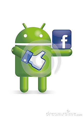 Android robot with facebook thumb and logo Editorial Photo