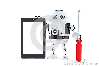 Android robot with tablet computer