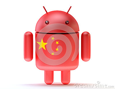 Android textured with flag of china. Technology concept Editorial Photo