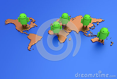 Android World Map Editorial Stock Photo