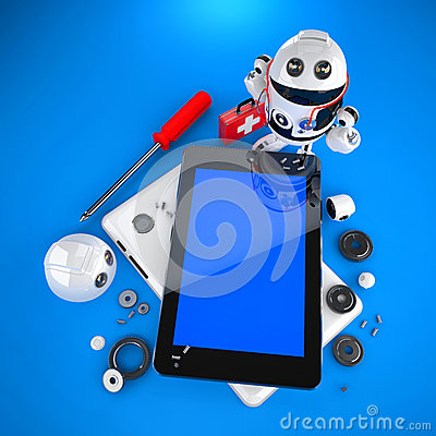 Androider Roboter, der Tabletten-PC repariert