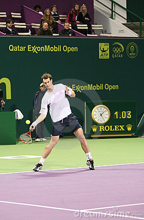 Andy Murray plays in Doha tennis Editorial Stock Image
