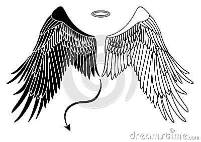 Ange et ailes de diable photo libre de droits - Ailes d ange dessin ...