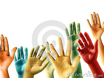Angehobene Hände
