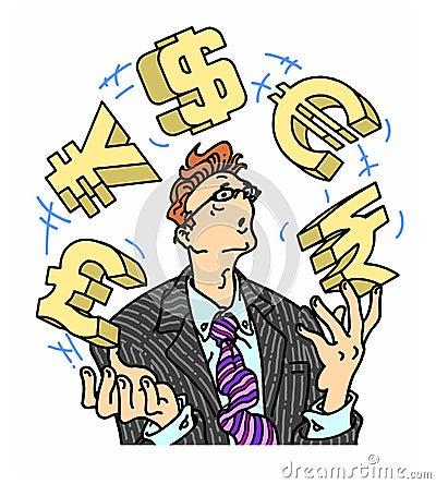 Angelägen affärsman som jonglerar valutasymboler