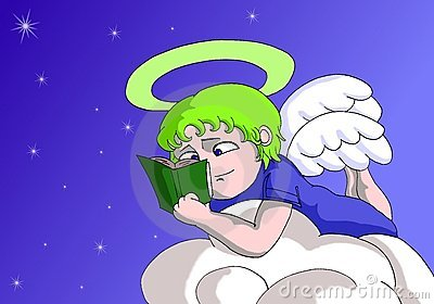 Angel cartoon reading a book