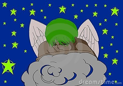 young angel sleeping on a cloud in the sky