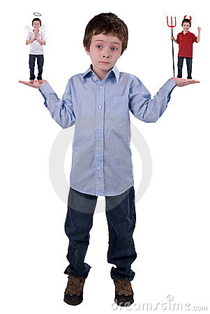 Free Angel And Devil In A Young Boy Stock Photography - 3484152