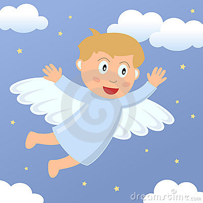 Angel Boy Flying in the Sky
