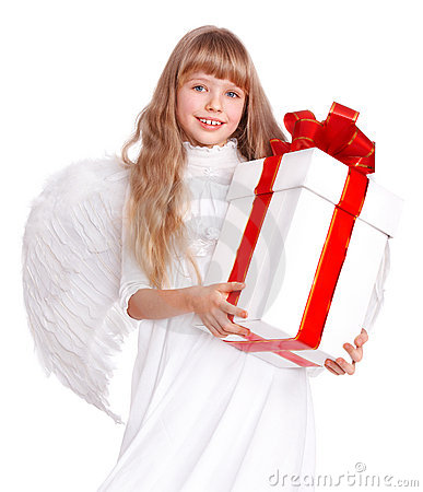 Angel child  with gift box.