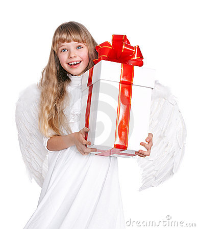 Free Angel Child  With Gift Box. Stock Images - 16887764