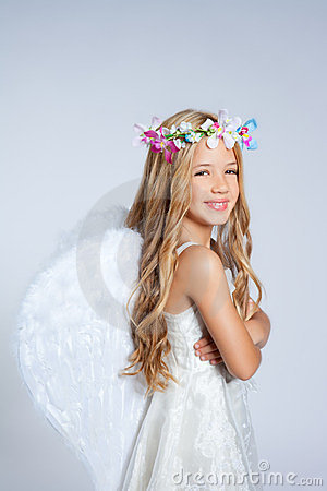 Angel children little girl portrait