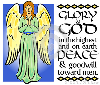 Calligraphy christmas bible verse with illuminated angel illustration