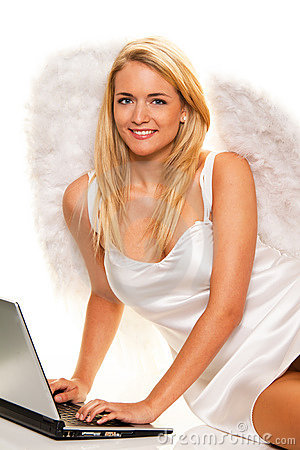 Angel Christmas wishes to take with a laptop.