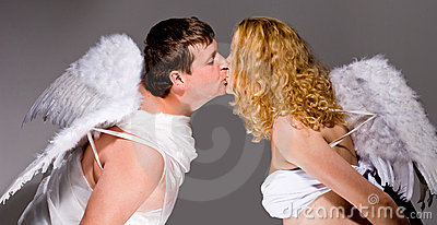 Angel couple kissing