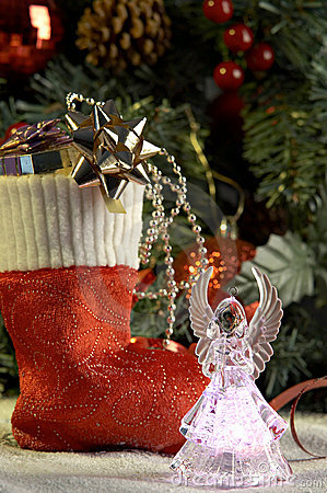 Angel and cristmas stocking with presents