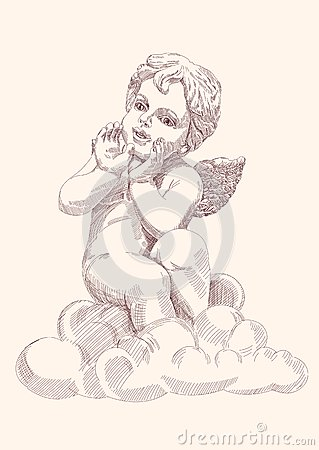 Angel or cupid isolated