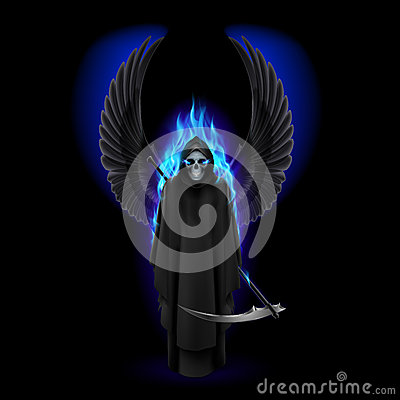 Grim Reaper with wings and blue flame on black.