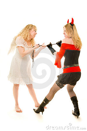 Angel and demon fighting